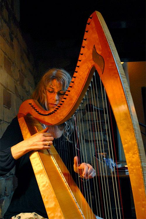 Patrice Haan plays the harp at le Bateau Ivre in Berkeley, on August 31, 2011. (Kristopher Skinner/Staff)